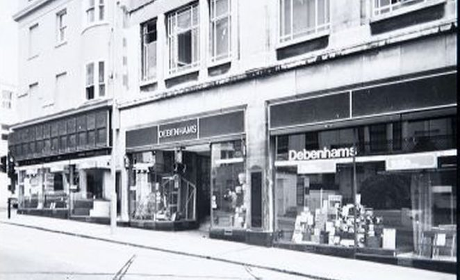 Looking up Montpelier Road towards Western Road, the side windows of Debenhams, formerly Plummer Roddis | Image reproduced with kind permission of The Regency Society and The James Gray Collection