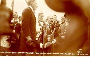 The Mayor of Brighton and the Duke of Richmond laying the foundation stone for the new building in Dyke Road, June 1912