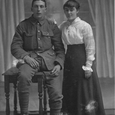 Private Frederick Charles Griffiths, student of Stanford Road School, died of wounds 12 Apr 1917, with fiance Louie | Private Collection of Geoffrey Barber