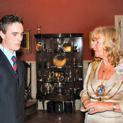 The Mayor talks to B&H young cricketer George Ledden | Photo by Tony Mould