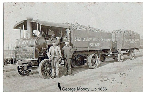 George Moody with steam lorry in Portslade | From the private collection of Brian Newman