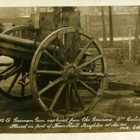 A captured German Gun on public display in Brighton during 1915. | From the private collection of Tony Drury