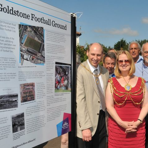 Tony Meadows, Councillor Anne Meadows, Dick Knight and Tim Carder by the Heritage Board | Photo by Tony Mould