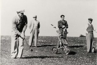 Pim Neller, the Club Professional, playing a chip shot. The onlooker is Bert Knight, the younger chap caddying is Fred Knight, my Grandfather and Father respectively | Private collection of John Knight