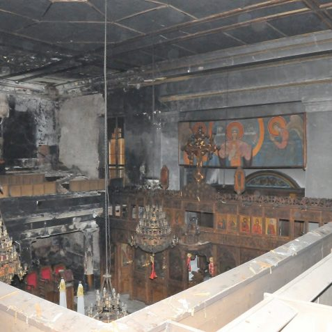 Greek Orthodox Church: fire damage 2010 | Photo by Tony Mould