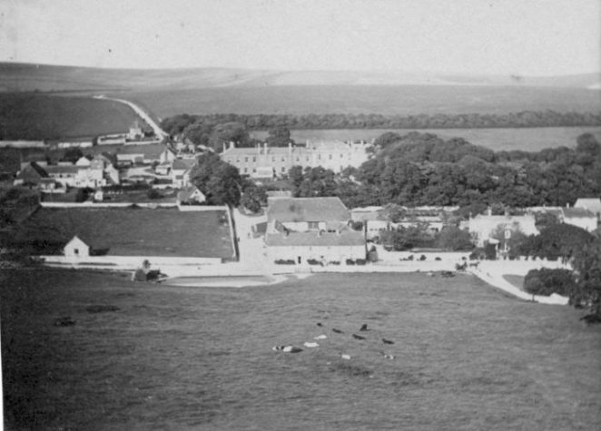 A view of Ovingdean village with Peartree Cottages in the centre, c1918 | From the private collection of Jennifer Drury