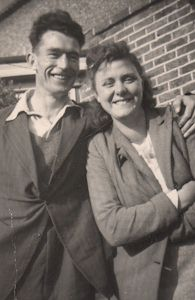 Lesley's parents outside 6, Godwin Road.