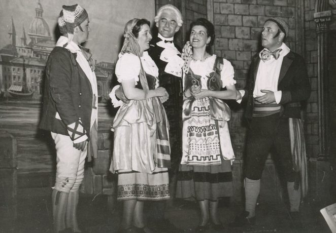 Lead players in The Gondoliers: Ron Harmon, Rene Surman, Les Surman Sylvia Baldwin, Ernie Killick. | From the private collection of John Killick