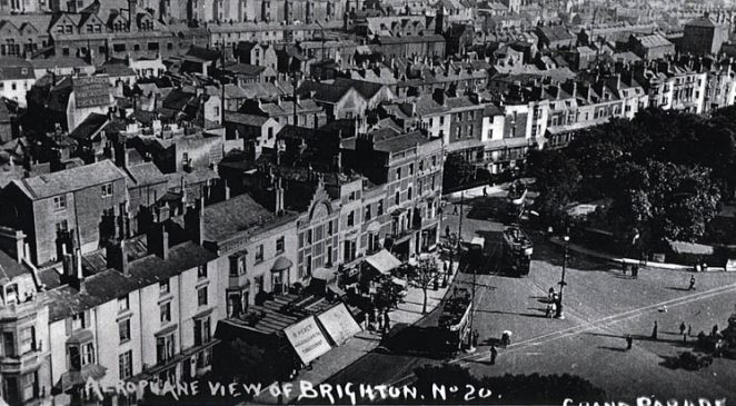 Aeroplane view of Grand Parade, Brighton | Image scanned with kind permission from the private collection of Jacqueline Pollard