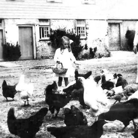 Feeding chickens in The Grange farmyard c1914 | From the private collection of Jennifer Drury