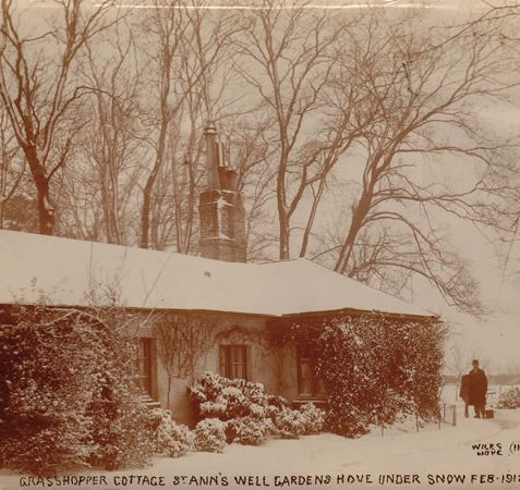 Grasshopper Cottage, St Ann's Well Gardens under snow in February 1912 | Image reproduced with permission from Brighton History Centre