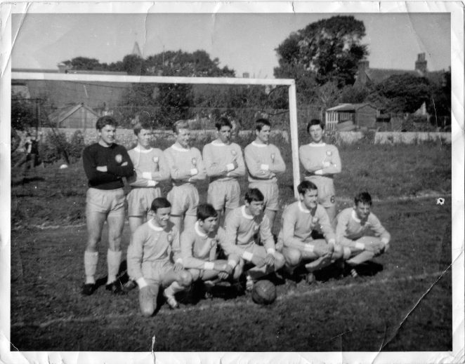 Hangleton FC: Back row : John Williams(Keeper), Kenny Norris, Kenny Hill, Colin Muckle, Barry Brewster, John Strickland, Front row : Vic Hoare, Bobby Hynam, Mick Wade, Alan Bryan(Yogi), Keith Smith | From the private collection of John Strickland