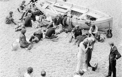 'Hippies' on the beach c1960s