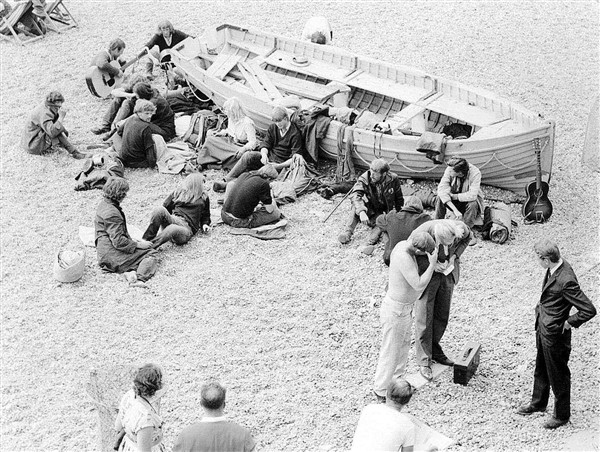 'Hippies' on Brighton beach in the 1960s | From the private collection of Stefan Bremner-Morris