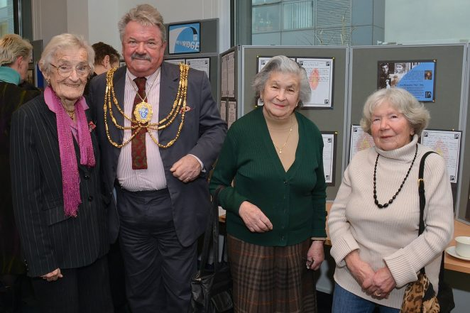 Councillor Bill Randall with Dr Scarlett Epstein and Rosa and Sheindl | Photo by Tony Mould
