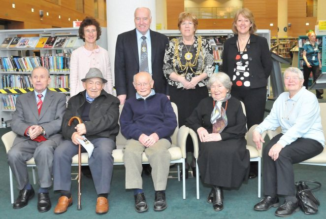 The Mayor of Brighton and Hove, Councillor Ann Norman, with her Consort Councillor Ken Norman, met with some of the participants in the 'Portraits for Posterity' Holocaust project.
