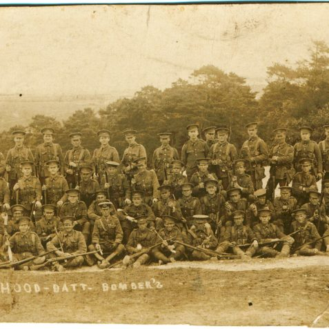 Hood Battalion group - Alf back row 4th from right, training camp, could be Eastleigh? or Bisley | From the private collection of J. Hamblett