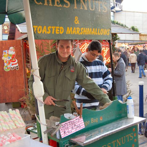 A very popular addition to Churchill Square - the hot chestnut stall | Photo by Tony Mould