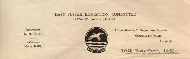 Hove Manor School Emblem | From the private collection of Keith Upward