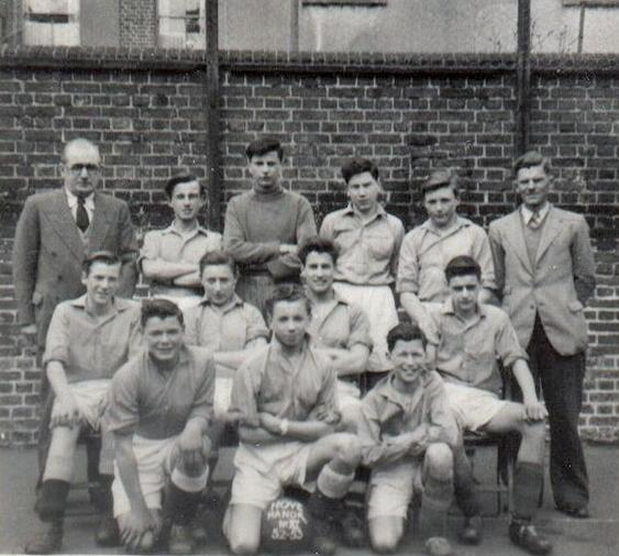From left to right back row: Head Master Mr G. Ralph, Ron Hyde, name not known, Dennis - surname not known, Paul Blunt, art teacher Jack Mutton. From left to right centre row: John Cole, Mike Fogden, Chris Barker, name not known. From left to right front row: first name not known Davanport, name not known, Mick Lamb. I was not in this squad, but I made it the following year 1954. | From the private collection of Keith Upward