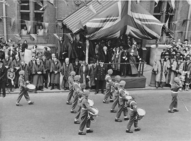 VE victory parade at Hove Town Hall | From the private collection of Reverend Anthony Martlew