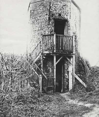 This photographic print was made by the Borough Surveyors Department. It is of the dovecote at Moulsecoomb Place, Brighton.  This structure was frequently visited by the Prince Regent during his time in Brighton, and became popularly known as The Princes Tower. The Prince converted the building into a summer house, where he used to enjoy playing his silver flute. The structure was destroyed by vandals in 1942. | Reproduced courtesy of Royal Pavilion, & Museums, Brighton & Hove