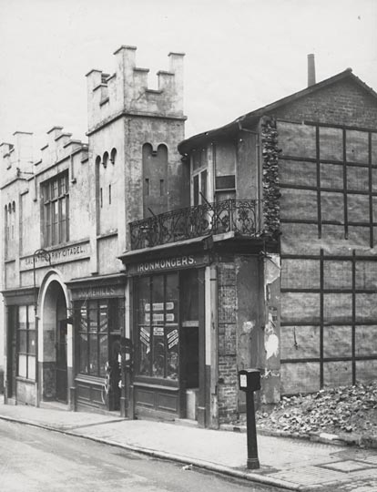 This photographic print was made by the Borough Surveyor's department in about 1930. It shows Dockerills Ironmongers on the northern side of Edward Street, Brighton. The Salvation Army Citadel is visible on the left of the photograph. | Reproduced courtesy of Royal Pavilion, Libraries & Museums, Brighton & Hove