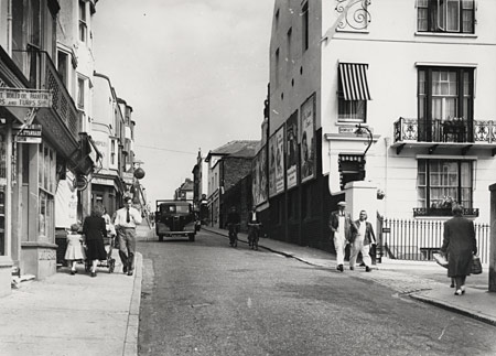 This photographic print was made by the Borough Surveyor's department in June 1951. It shows Edward Street, Brighton, looking east toward Dorset Gardens. | Reproduced courtesy of Royal Pavilion, Libraries & Museums, Brighton & Hove