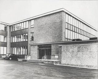 This photographic print was made by the Borough Surveyor's department. It shows the headquarters of Brighton Water Department. The photograph was taken shortly after the building was completed.  The new building opened on 15 November 1967. It occupied the site of the former Falmer Pumping Station. The demolition and construction work was overseen by the Borough Surveyor's department. This print was made as a record of work in progress. | Reproduced courtesy of Royal Pavilion and Museums Brighton and Hove