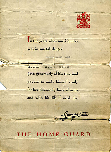 Home Guard letter from the King | From the private collection of Bill Laker