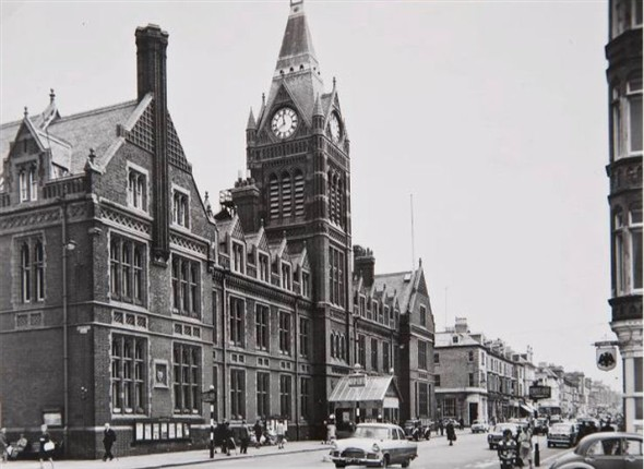 Hove Town Hall photograhed just before the fire in 1966. Click on the image to open a large version in a new window. | Image reproduced with kind permission of The Regency Society and The James Gray Collection
