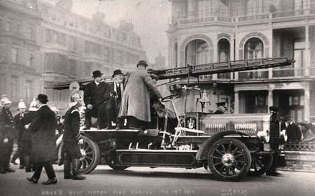 Hove's new motorised fire brigade, on 19th February 1914 | Image reproduced with permission from Brighton History Centre