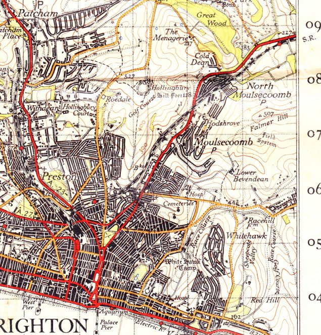 Brighton and environs from 1946 (although not updated from 1940) | Scanned from OS Map sheet 182 1946:in the public domain. Click on the map to open a large version in a new window