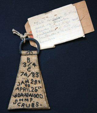 Memento of Arthur Sanders' stay in Wormwood Scrubs prison during the First World War. The label reads: