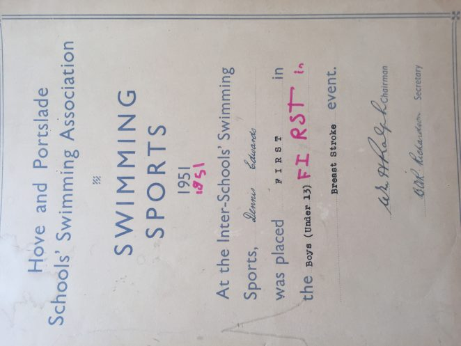 Sports  certificate | From the personal collection of Kevin Edwards