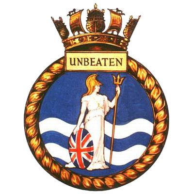 H.M.S.  Unbeaten's ship's badge - Britannia standing defiantly on the waves. | From the private collection of Tony Drury