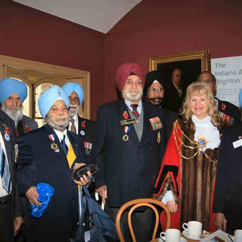 Standing next to(left) the Mayor is Major Joginder Singh Brar, together with other WWII veterans. | Photo by Tony Mould
