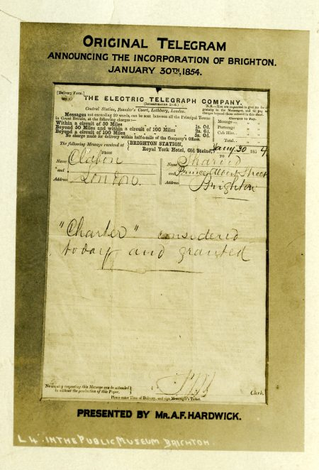 Copy of telegram | From the personal collection of Geoffrey Wells