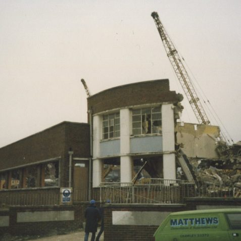 Demolition of ITT/STC begins winter 1986/87 | Photo by Hugh Fermer, now in the private collection of Peter Groves