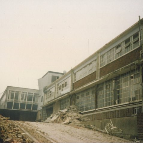 Demolition of ITT/STC begins autumn 1986 | Photo by Hugh Fermer, now in the private collection of Peter Groves