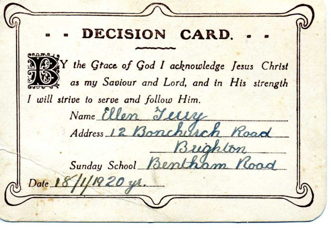 Decision card | From the private collection of Dennis Parrett