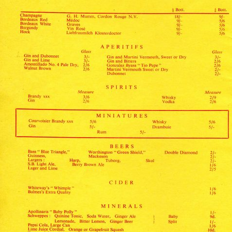 Brighton Belle menu and wine list | From the private collection of Dennis Parrett