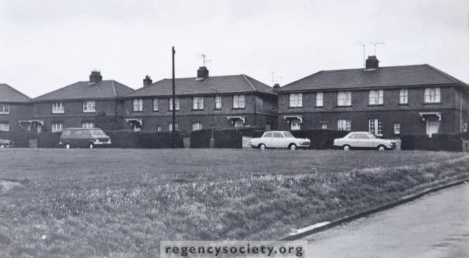 After the buildings in Ingram Crescent had been finished in the early part of the 1925, Hove Corporation was left with an area of vacant land between the two wings of the Crescent. They wisely decided that as the housing shortage was so acute more houses should be built here, but leaving an open frontage on the west, east and north side, during 1926, thus completing the Ingram Estate. They had a life of only 48 years. Photographed in September 1974, they were demolished within 6 weeks. This view: North Side 7/12. Some of these were large houses. | Image reproduced with kind permission of The Regency Society and The James Gray Collection
