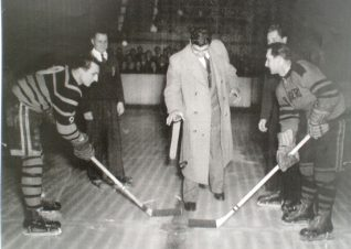 Jack Gardener drops the puck for the face off. Tigers v Earls Court Rangers | From the private collection of Trevor Chepstow