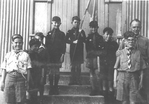 Mile Oak cubs in the 1950s with Father John   From the private collection of Bonny Cother