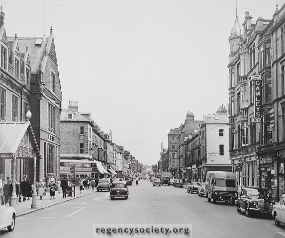 Church Road with Gamley's on the right c1960s | Image reproduced with kind permission of The Regency Society and The James Gray Collection