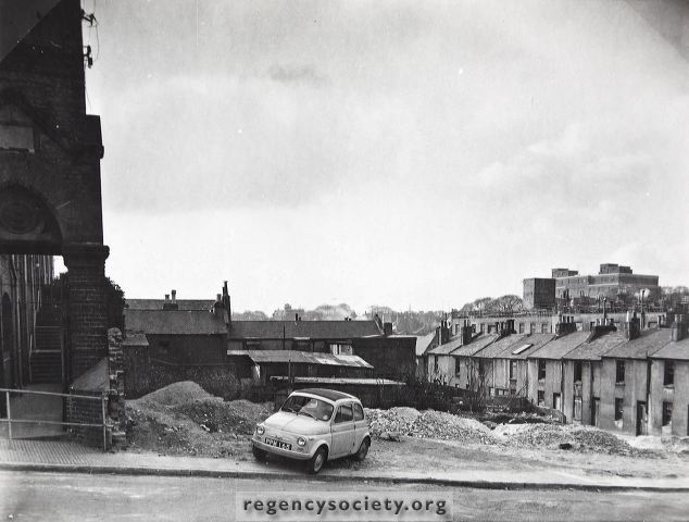 Looking across Richmond Street to the houses of Ivory Place, then awaiting demolition in 1960. | Image reproduced with kind permission of The Regency Society and The James Gray Collection