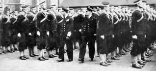 King George VI inspects Cadet Ratings on divisions at Lancing, May 29th 1941. | From a private collection