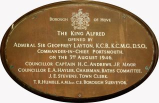 Plaque commemorating the Post War reopening of the Hove Marina complex as the King Alfred Leisure Centre.   Photo by Tony Mould by kind permission of Brighton & Hove Council