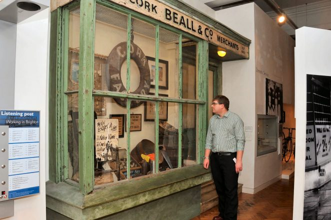 Kevin Bacon of Brighton Museum photographed outside the reconstruction of Beall & Co | Photo by Tony Mould
